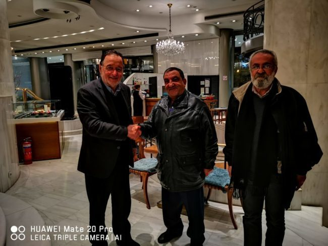Ο Λαφαζάνης με Ι.Άχμαντ-Μ.Εκτάμι του Δημοκρατικού Μετώπου Απελευθέρωσης της Παλαιστίνης